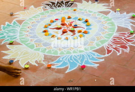 Close-up Of Rangoli With Diyas - Stock Photo