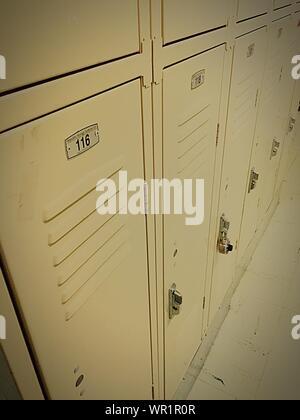 Cabinets In Locker Room - Stock Photo