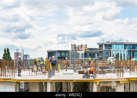 Kiev, Ukraine - September 05, 2019: Active preparatory work is ongoing for concreting at the construction site of a residential building. - Stock Photo