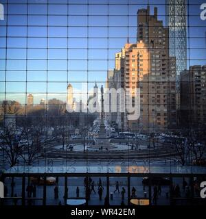 Columbus Monument Seen From 150-foot Glass Curtain Of Time Warner Center - Stock Photo