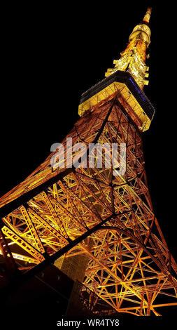 Tokyo Tower Shining On Rainy Night - Stock Photo