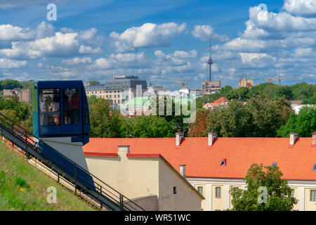 Vilnius, Lithuania - August 19, 2019: View to Vilnius city with funicular to Gediminas tower in Vilnius, Lithuania - Stock Photo