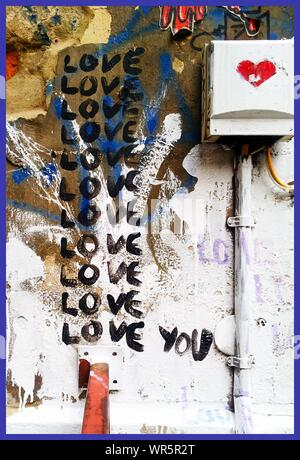 Love Message Written On Wall By Electric Meter - Stock Photo