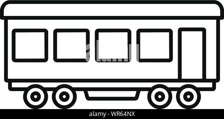 Passenger wagon icon. Outline passenger wagon vector icon for web design isolated on white background - Stock Photo