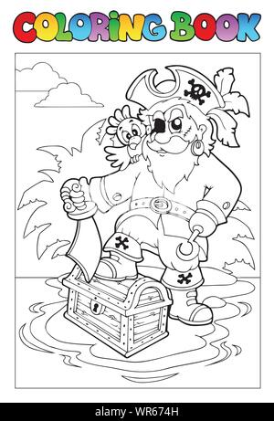 Coloring book with pirate scene 1 - Stock Photo
