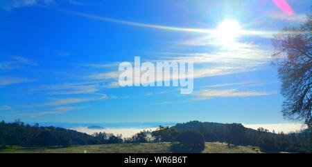 Bright Sun Shining Over Field Against Blue Sky - Stock Photo