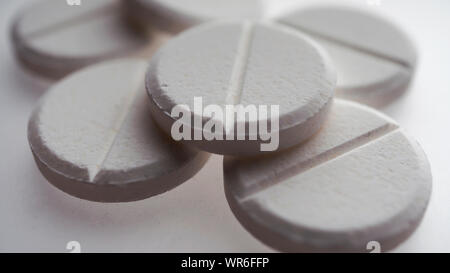 oval, round, drug, xanax, viagra, circle, blank, unmarked - Stock Photo