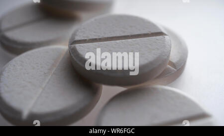 oval, round, drug, xanax, viagra, circle, blank, unmarked - Stock Photo