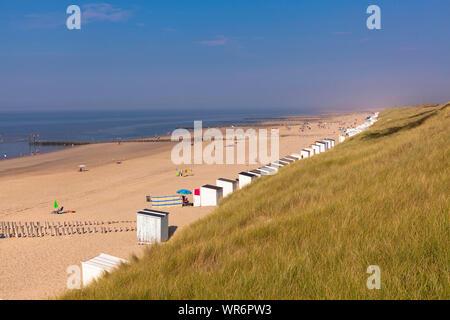 dunes and the beach between Oostkapelle and Domburg on the peninsula Walcheren, Zeeland, Netherlands.  Duenen und Strand zwischen Oostkapelle und Domb - Stock Photo