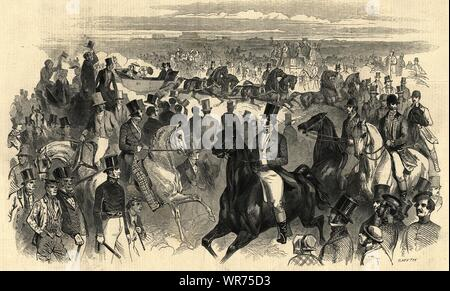 Ascot races - The royal cortege on Thursday. Berkshire. Racing 1847 ILN print - Stock Photo