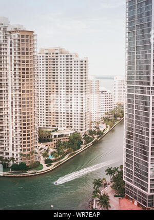 High Angle View Of River Amidst Buildings In City - Stock Photo