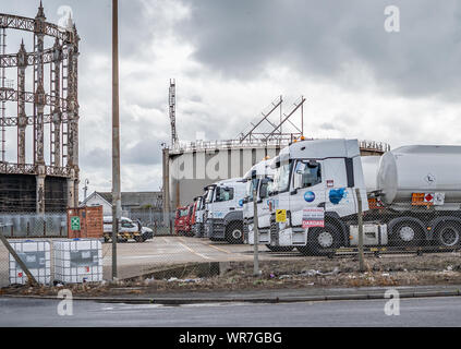 Great Yarmouth, Norfolk, UK – September 08 2019. ASCO HGVs and lorries parked up in the Great Yarmouth yard - Stock Photo