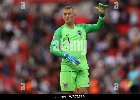 Jordan Pickford of England - England v Bulgaria, UEFA Euro 2020 Qualifier - Group A, Wembley Stadium, London, UK - 7th September 2019  Editorial Use Only - Stock Photo