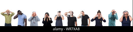 group of men and women with headache - Stock Photo