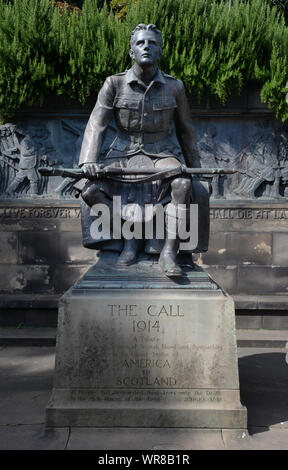 The Scottish American Memorial, or Scots American War Memorial, is in West Princes Street Gardens in Edinburgh. It was called 'The Call 1914' - Stock Photo