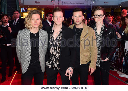 File photo dated 26/04/16 of McFly (left to right) Dougie Poynter, Danny Jones, Harry Judd and Tom Fletcher. The band will reunite for one night only for a show at London's O2 arena, it has been annnounced. - Stock Photo