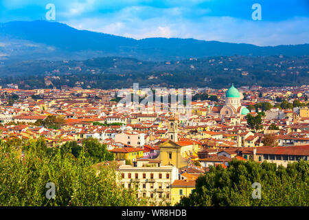 Florence, Italy aerial view of historical medieval buildings with Great Synagogue dome in old town - Stock Photo