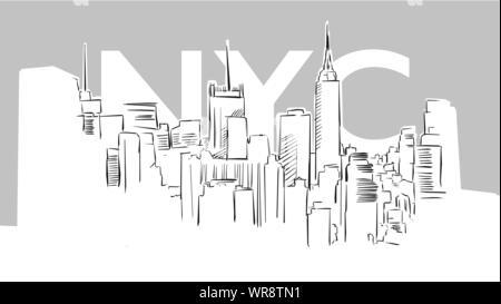 Metropolis Panorama Skyline Vector Sketch. Hand Drawn Illustration on grey background. - Stock Photo