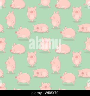 Seamless pattern of hand-drawn cheerful pigs on an isolated green background. Vector illustration of piglets for New Year, prints, wrapping paper, car - Stock Photo