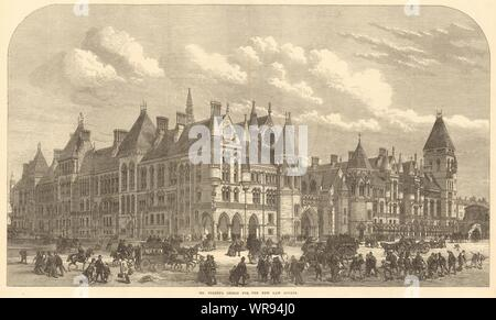 George Edmund Street's design for Royal Courts of Justice, London 1872 - Stock Photo