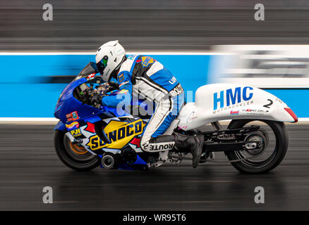 Super Street Bike Drag Racing at Santa Pod Raceway. Mogens Lund Suzuki Hayabusa. - Stock Photo