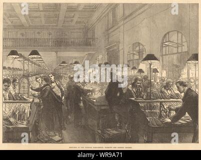 The General Post-Office: Stamping & sorting letters. London. Mail 1875 - Stock Photo
