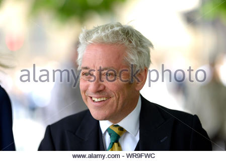 London, UK. 10th Sep, 2019. Speaker of the House of Commons, John Bercow, walks to Westminster Abbey with his wife Sally the morning after announcing that he will step down as Speaker either at the end of October or the next general election. They were attending a memorial service for Lord Paddy Ashdown. Credit: PjrFoto/Alamy Live News - Stock Photo
