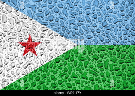 Djibouti national flag made of water drops. Background forecast season concept. - Stock Photo