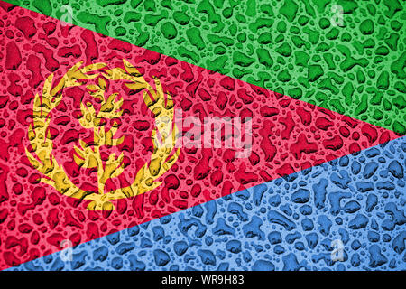 Eritrea national flag made of water drops. Background forecast season concept. - Stock Photo