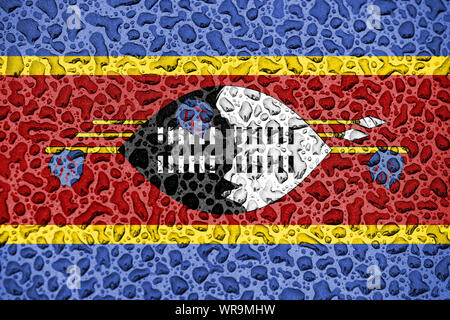 Swaziland national flag made of water drops. Background forecast season concept. - Stock Photo
