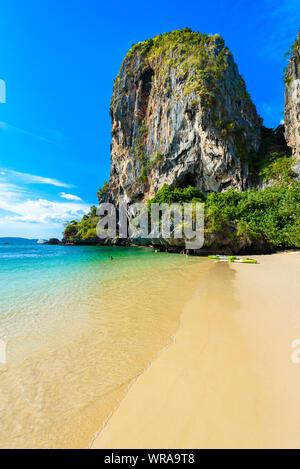 Limestone karst rocks at Ao Phra Nang Beach on Railay Peninsula, close to Ao Nang, Krabi province, Andaman Sea, Thailand - Stock Photo