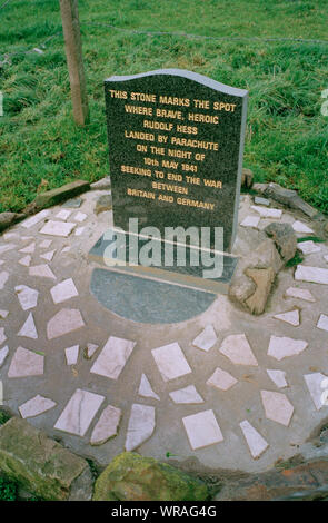 A memorial marks the (nearby) crash landing spot of Rudolf Hess when he flew to Scotland to broker a peace deal in May 1941, at Floors Farm, in Eaglesham, Scotland, 1993. - Stock Photo