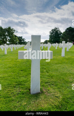 Omaha Beach, Normandy / France - 16 August 2019:  headstone of an unmarked grave and unknown soldier at the American Cemetery at Omaha Beach - Stock Photo