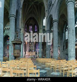 Dinant, Namur / Belgium - 11 August 2019: interior view of the Notre Dame de Dinant cathedral in Belgium - Stock Photo