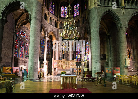 Dinant, Namur / Belgium - 11 August 2019: view of the altar in the Notre Dame cathedral in the town of Dinant - Stock Photo