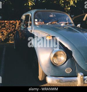 Sunlight Fallen On Vintage Car Parked - Stock Photo