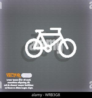 bike icon symbol on the blue-green abstract background with shadow and space for your text. Vector - Stock Photo