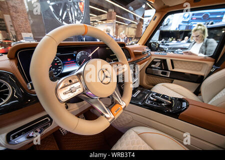 10 September 2019, Hessen, Frankfurt/Main: View into the cockpit of the Brabus G V12 900. The Brabus G V12 900, the strongest twelve-cylinder off-roader in the world according to the manufacturer, is presented at the IAA. Including VAT, the 900 hp car will be offered in Germany for around 720,000 euros. Photo: Boris Roessler/dpa - Stock Photo