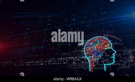 Artificial intelligence head 3d illustration. Digital background with space for contents. Abstract futuristic concept of cybernetic brain, machine lea