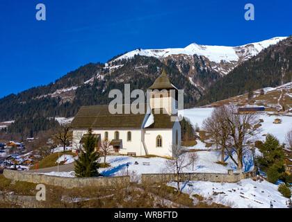 Temple church, Chateau-d'Oex, Pays-d'Enhaut, Vaud, Switzerland