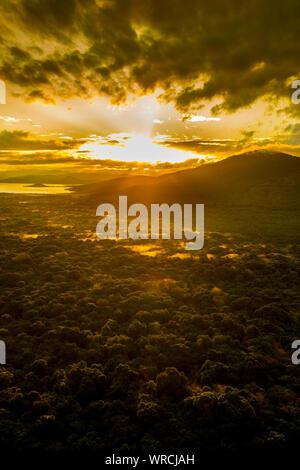 Dramatic sunrise over rain forest in Nechisar National Park, Ethiopia. - Stock Photo