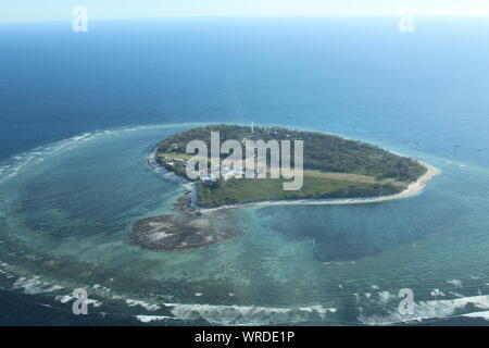 Aerial view of Lady Elliot Island - Stock Photo