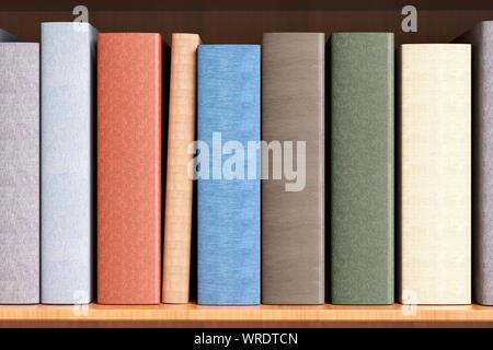 Hardback books with a blank spine on a bookshelf close up - Stock Photo