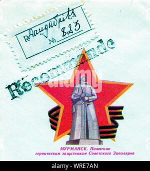 Soviet Union, CIRCA 1968:Stamp showing the statue of Soviet soldier in Murmansk, circa 1968 - Stock Photo
