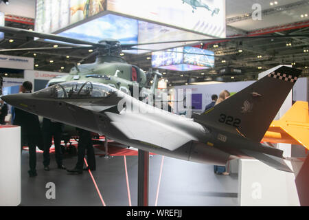 London, UK. 10th September 2019. Model military aircraft at the DSEI,  the world's leading defence and security event which opens at the Excel centre in London Docklands from 10-13 September bringing together hundreds of international arms and defence exhibitors Credit: amer ghazzal/Alamy Live News - Stock Photo