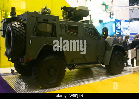 London, UK. 10th September 2019. Armoured vehicle on display at the DSEI,  the world's leading defence and security event which opens at the Excel centre in London Docklands from 10-13 September bringing together hundreds of international arms and defence exhibitors Credit: amer ghazzal/Alamy Live News - Stock Photo