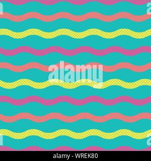 Wavy Wertical Stripes In Seamless Repeated Pattern Swatch - Stock Photo