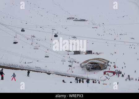 A white out at Val Thoren ski resort in France - Stock Photo