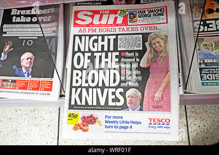 The Sun newspaper headline Boris Johnson 'Night of the Blond Knives' Cabinet cull and Carrie Symonds partner London England 25 July 2019 UK - Stock Photo