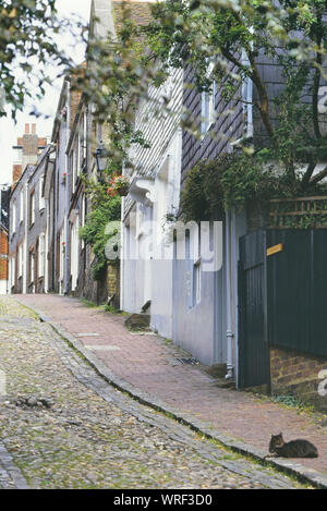Houses on Keere Street, Lewes, East Sussex, England, UK - Stock Photo